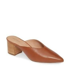 Halogen Tory Mules in Chestnut Leather